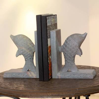 Soapstone bookends, 'Dancing Dolphins' (pair) - Hand Carved Soapstone Dolphin Bookends (Pair)