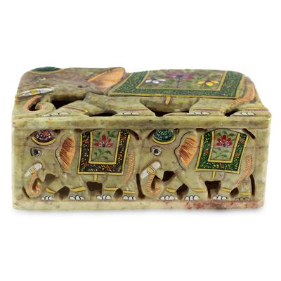 Elephant Soapstone Decorative Box
