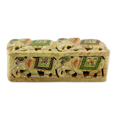 Elephant Soapstone Hand Painted Box
