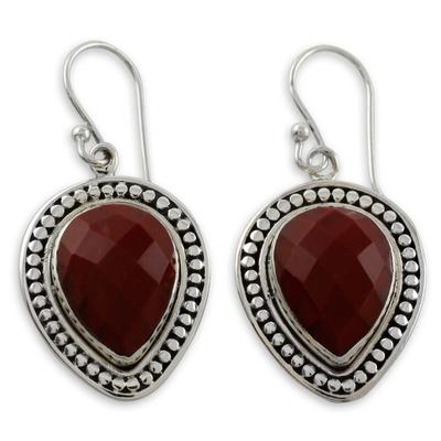 Faceted Red Jasper Dangle Earrings