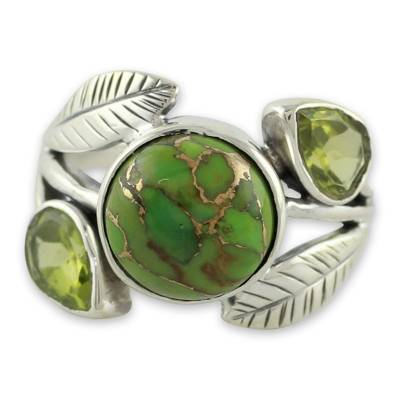Handmade Peridot and Turquoise Ring from Novica