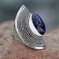 Lapis lazuli cocktail ring, 'Jaipur Blue' - Sterling Silver Lapis Lazuli Ring from India