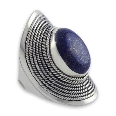 Sterling Silver Lapis Lazuli Ring from India