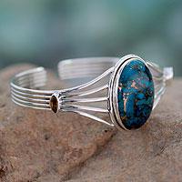 Sterling silver cuff bracelet, 'Blue Island' - Citrine and Composite Turquoise Silver Cuff Bracelet