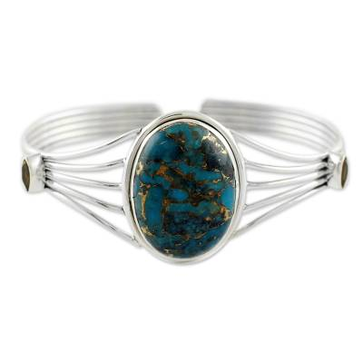 Citrine and Composite Turquoise Silver Cuff Bracelet