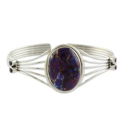 Amethyst and Composite Turquoise Silver Cuff Bracelet