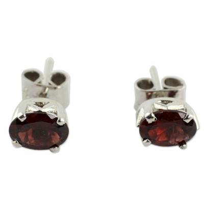 3 Carat Garnet Stud Earrings from India