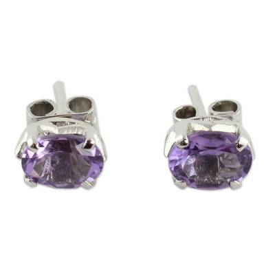 2 Carat Amethyst Stud Earrings from India
