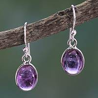 Amethyst dangle earrings, 'Luminous Lilac'
