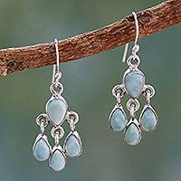 Larimar chandelier earrings, 'Sky Drops' - Handmade Larimar and Sterling Silver Chandelier Earrings
