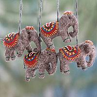 Wool ornaments, 'Elephants in Red' (set of 4) - Indian Elephant Decorations