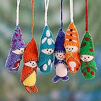 Wool ornaments, 'Babies in Snowsuits' (set of 6) - Set of 6 Handmade Wool Ornaments from India