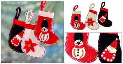 Wool ornaments, Christmas Stockings (set of 3)