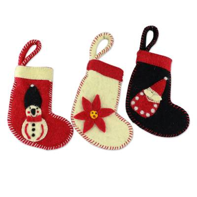 3 Handcrafted Christmas Stocking Ornaments from India