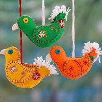 Wool ornaments, 'Song of Joy' (set of 3) - 3 Fair Trade Bird Ornaments from India