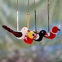 Wool ornaments, 'Songbird Quartet' (set of 4) - India Hand Made Wool Bird ornaments (Set of 4)