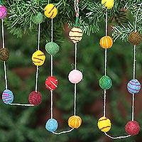 Wool Christmas tree garland, 'Gumdrop Pompoms' - Embroidered Handmade Felt Holiday Garland