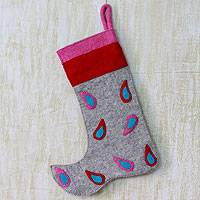 Wool Christmas stocking, 'Festivity' - Modern Wool Applique Christmas Stocking