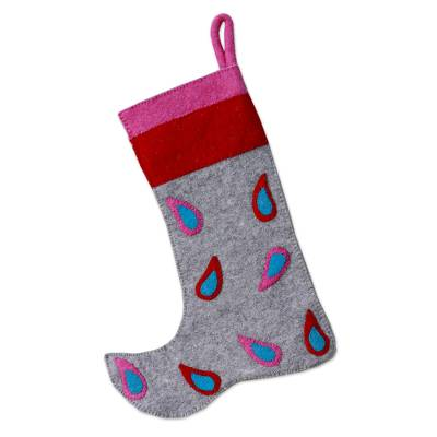 Modern Wool Applique Christmas Stocking