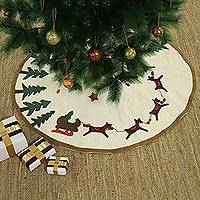 Wool Christmas tree skirt, 'Reindeer Sleigh' - Modern Wool Applique Reindeer Christmas Tree Skirt