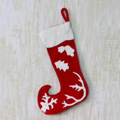 Wool Christmas stocking, 'Holiday Spirit' - Red and White Wool Applique Christmas Stocking