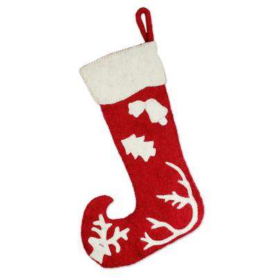 Red and White Wool Applique Christmas Stocking