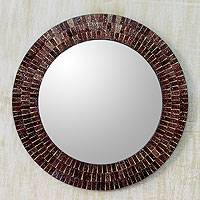 Glass mosaic mirror, 'Maroon Reflection' - Glass Tiles Round Wall Mirror
