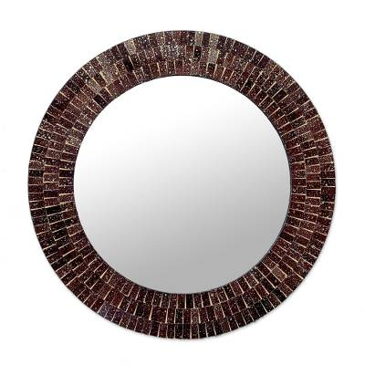 Glass Tiles Round Wall Mirror