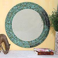 Glass mosaic mirror, Turquoise Sunset - Glass Tiles Round Wall Mirror