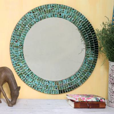 Glass mosaic mirror, 'Turquoise Sunset' - Glass Tiles Round Wall Mirror