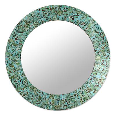 Unicef Uk Market Glass Tiles Round Wall Mirror