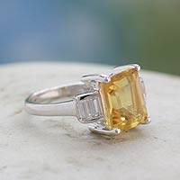 Topaz and citrine cocktail ring, 'Jaipur Lady' - Artisan Crafted Citrine and Topaz Cocktail Ring