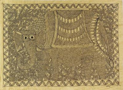 Monochromatic Signed Madhubani Elephant Painting