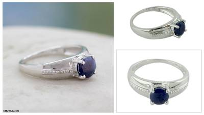 Rhodium Plated Sterling Silver Sapphire Solitaire Ring