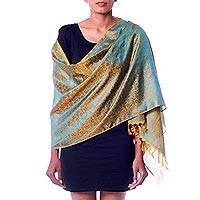 Varanasi silk shawl, 'Indian Sunset' - Handwoven Aqua and Orange Varanasi Silk Shawl