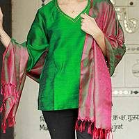 Varanasi silk shawl, 'Emerald Glory' - Handwoven Emerald and Fuchsia Varanasi Silk Shawl