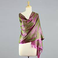 Varanasi silk shawl, 'Olive Grove' - Handwoven Olive Green and Fuchsia Varanasi Silk Shawl