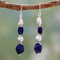 Cultured pearl and lapis lazuli beaded earrings,