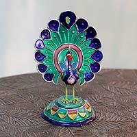 Meenakari sterling silver figurine, 'Lucknow Peacock' - Meenakari Enamel on Sterling Silver Figurine