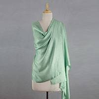 Silk shawl, 'Luxurious Aqua' - Indian Silk Shawl Wrap