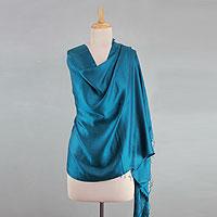 Silk shawl, 'Luxurious Teal'