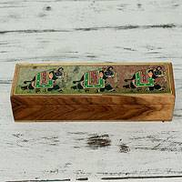 Teakwood and soapstone jewelry box, 'Emerald Elephant Parade' - Handcrafted Teakwood and Soapstone Jewelry Box