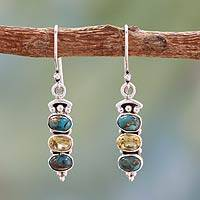 Citrine dangle earrings, 'Golden Mystique' - Citrine and Turquoise Earrings