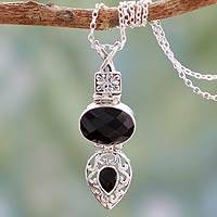 Onyx pendant necklace, 'Royal Heritage' - Handmade Sterling SIlver Necklace with Faceted Black Onyx