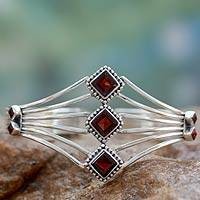 Garnet cuff bracelet, 'Glamour' - Faceted Garnet and Sterling Silver Bracelet