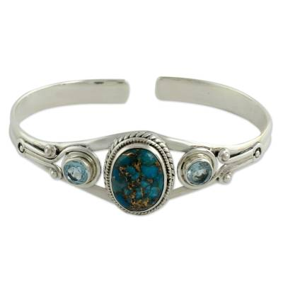 Handmade Blue Topaz Bracelet with Composite Turquoise