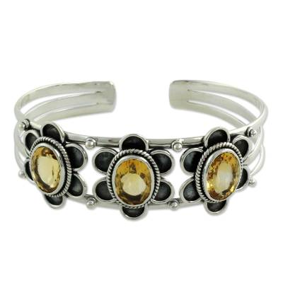 Modern Sterling Silver and Faceted Citrine Floral Bracelet