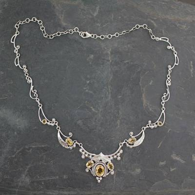 Citrine flower necklace, 'Queen of Nature' - Indian Jewelry Sterling Silver and Citrine Necklace