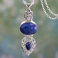 Lapis lazuli pendant necklace, 'Royal Heritage' - Handmade Sterling SIlver and Faceted Lapis Lazuli Necklace