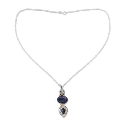Handmade Sterling SIlver and Faceted Lapis Lazuli Necklace